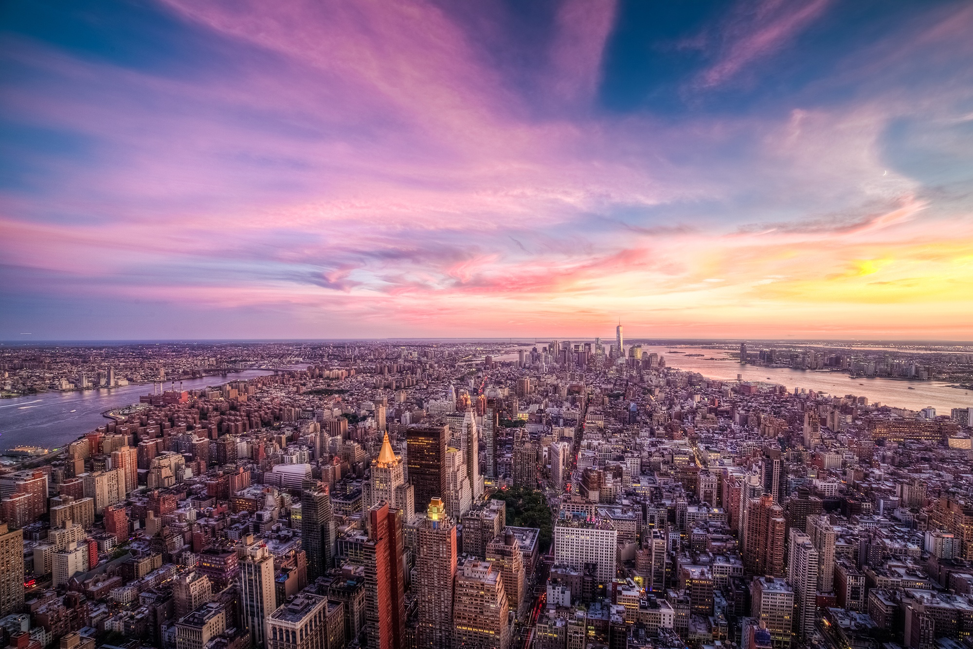 Purple Sunset In New York City Usa Desktop Wallpaper Exodo